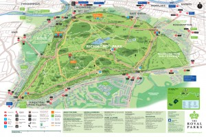 Richmond Park Cycling Map with Official Cycle Paths