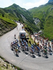 Tour de France peleton aerial shot