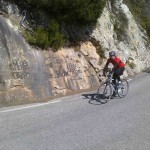 John approaching the summit of the Col de la Madone